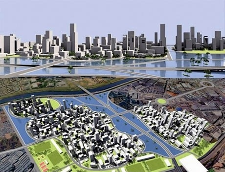 Volumetria e vista geral da área<br />Imagem dos autores do projeto