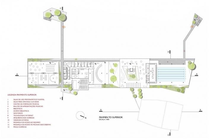 Concurso de Propostas Arquitetônicas para o futuro SESC Guarulhos, 3º lugar, pavimento superior. Escritório Forte, Gimenes e Marcondes Ferraz<br />Desenho do escritório