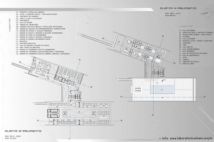 Centro de Referência em Empreendedorismo do Sebrae-MG, plantas terceiro e quarto pavimentos, menção honrosa. Arquiteto Érico Flumignan Pacheco, 2008<br />Desenho escritório