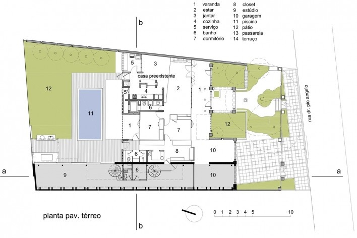 Casa de Ipanema, planta térreo, Sergio M. Marques, 2007/2009<br />Desenho Sergio M. Marques