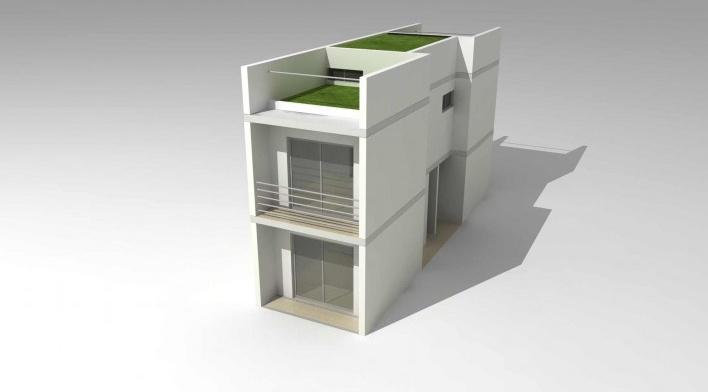 Maquete eletrônica da tipologia de 2 dormitórios. Concurso Habitação para Todos.CDHU.Sobrados - 2º Lugar.<br />Autores do projeto  [equipe premiada]