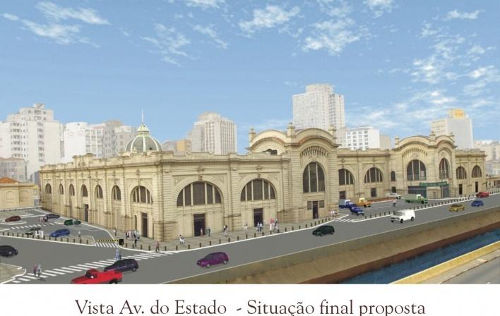 Vista da Avenida do Estado. final da proposta<br />Imagem do autor do projeto