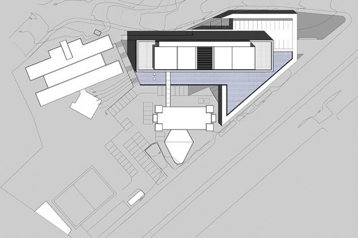 Centro de Referência em Empreendedorismo do Sebrae-MG, implantação, menção honrosa. Arquiteto Marcos Alexandre Jobim, 2008<br />Desenho escritório