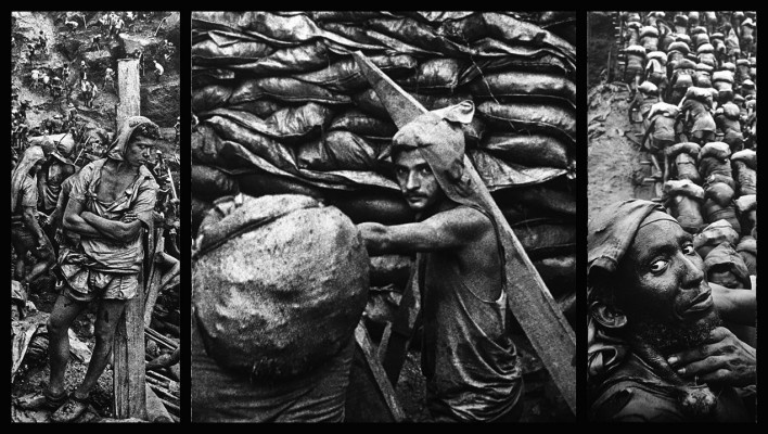 """""""O inferno de Bosch segundo Sebastião Salgado"""", tríptico 6, fragmentos da exposição fotográfica """"Gold – Mina de Ouro Serra Pelada""""<br />Fotomontagem de Abilio Guerra"""
