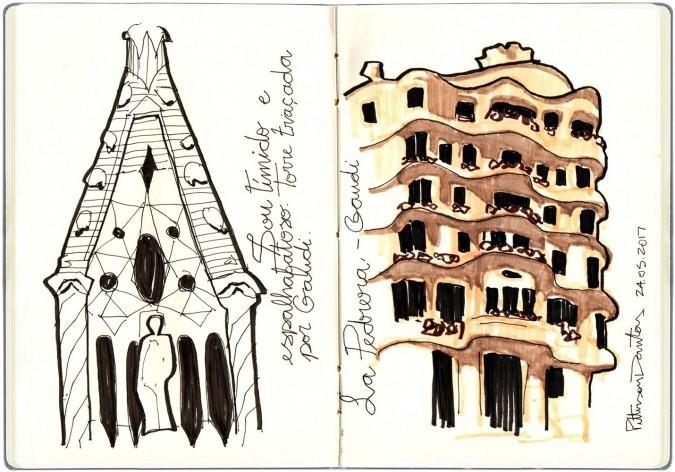Igreja da Sagrada Família e Casa Milà, Barcelona, Espanha<br />Desenho de Petterson Dantas