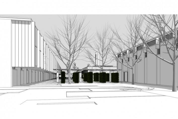 Saint Catherine's College, vista geral em direção ao quad, com cerca viva, Oxford, Inglaterra, 1959-1964, arquiteto Arne Jacobsen<br />Modelo tridimensional de Edson Mahfuz e Ana Karina Christ
