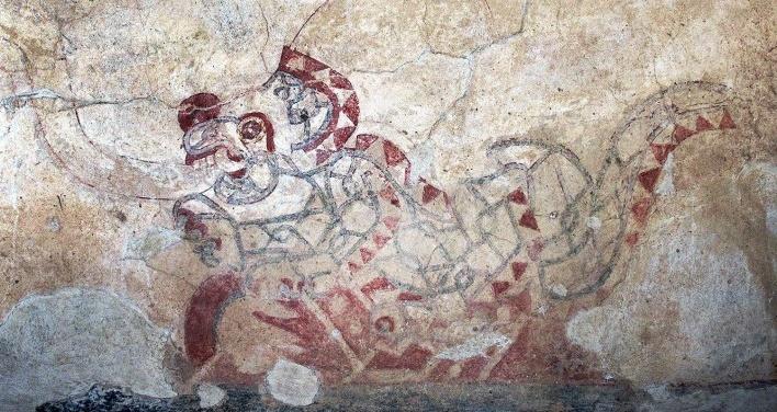 Teotihuacán, pintura do jaguar na parede do Palácio Quetzalpapalotl, México<br />Foto Victor Hugo Mori