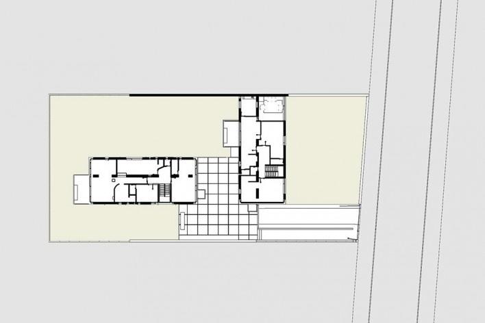 Casas Jaoul, planta primero piso, Neuilly-sur-Seine, París, Francia, 1951-56. Arquitecto Le Corbusier<br />Elaboração Edson Mahfuz