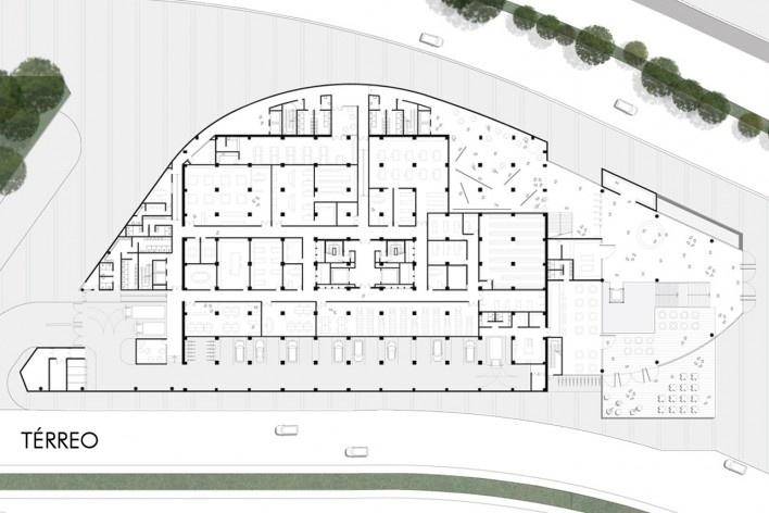 Concurso Anexo da Biblioteca Nacional, planta térreo, Rio de Janeiro, 3º lugar, arquiteto Renato Dal Pian<br />Imagem divulgação