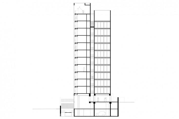Residencial Huma Klabin, corte c-c, Vila Mariana, São Paulo, 2016, escritório UNA Arquitetos<br />Imagem divulgação