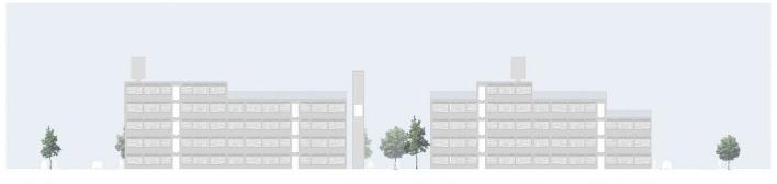 Fachada sobre o jardim interno. Concurso Habitação para Todos. CDHU. Edifícios de 6/7 pavimentos - 2º Lugar. <br />Autores do projeto  [equipe premiada]