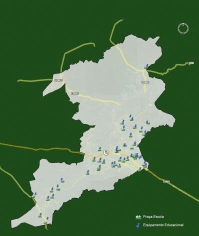 Mapa Praça-Escola e Equipamentos de Educação<br />Imagem dos autores do projeto