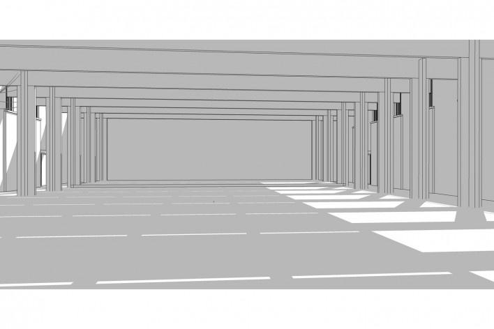 Saint Catherine's College, vista lateral do refeitório, Oxford, Inglaterra, 1959-1964, arquiteto Arne Jacobsen<br />Modelo tridimensional de Edson Mahfuz e Ana Karina Christ