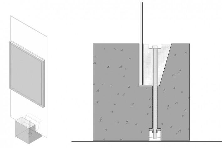Cavaletes de vidro reconstruídos, detalhe da fixação na base de concreto. Metro Arquitetos Associados