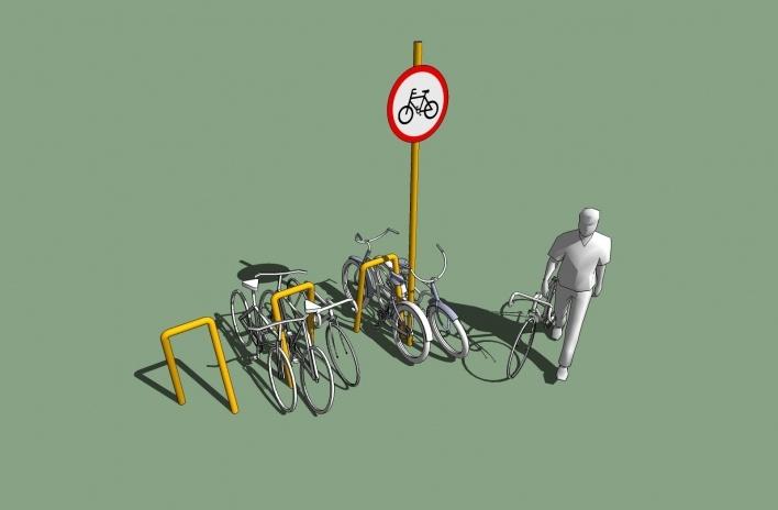 Modelo 3D - Bicicletário<br />Imagem dos autores do projeto