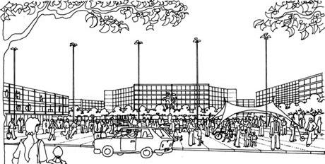 Praça no centro do bairro<br />Imagem dos autores do projeto