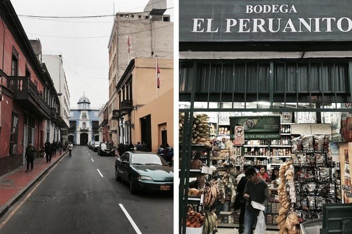 À esquerda, Jirón Cailloma, ao fundo a Casa Marquês Osambela, século 18, Lima, Centro; à direita, Mercearia El Peruanito, Miraflores, Lima<br />Foto José Lira