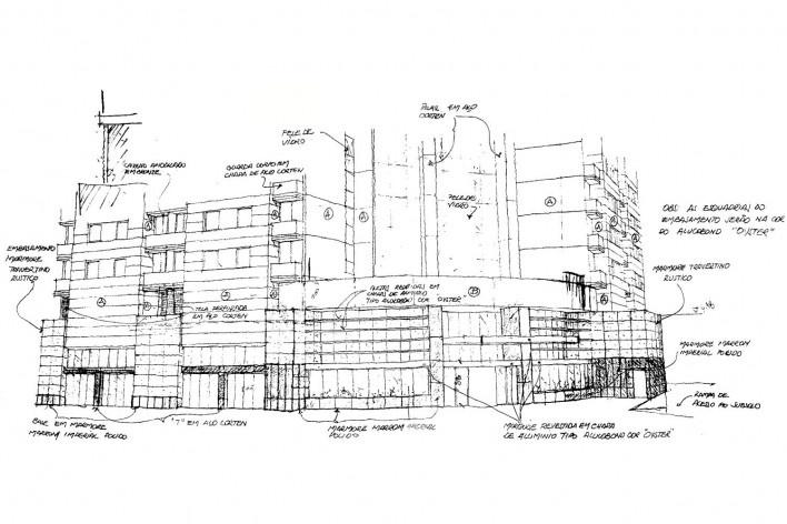 Brascan Century Plaza, croquis dos arquitetos, São Paulo. Escritório Konigsberger Vannucchi, 2000-2003 [Acervo KV]