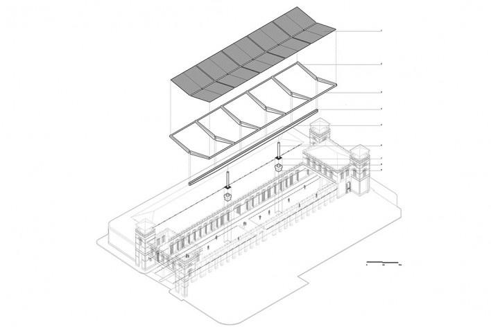 Cobertura do Mercado Público de Florianópolis, perspectiva isométrica da montagem, 2016. Arquitetos Gustavo Correia Utrabo e Pedro Lass Duschenes<br />Imagem divulgação