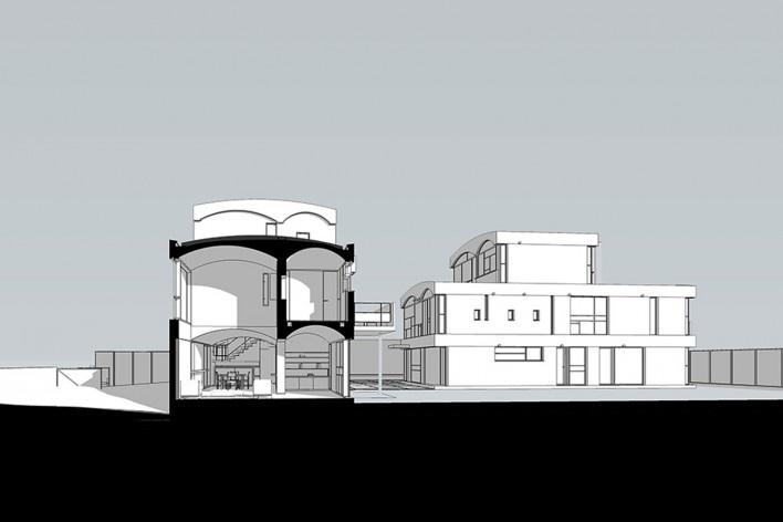 Casas Jaoul, corte, Neully-sur-Seine, Paris, França, 1951-56. Arquiteto Le Corbusier<br />Modelo tridimensional Lucas Kirchner/Imagem Edson Mahfuz