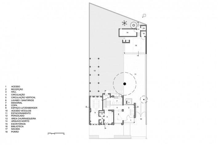 Casa Lutzenberger, planta do pavimento térreo. Reforma Kiefer arquitetos