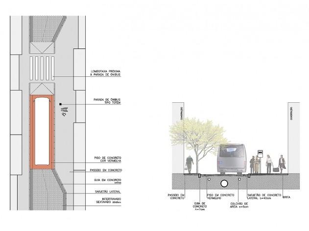 Diagrama de projeto. Detalhe do ponto de ônibus tipo abrigo. Projeto de Urbanização Integrada<br />Fonte Boldarini Arquitetos Associados