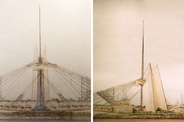 """Point Park Civic Center, 1947, Frank Lloyd Wright, mostra """"The Human Insect: Antenna Architectures 1887-2017""""<br />Foto Ana Tagliari / Wilson Florio, 2018"""