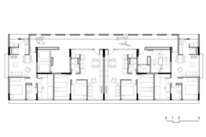 Planta torre ampliada, conjunto habitacional do Jardim Edite<br />Desenho MMBB & H+F