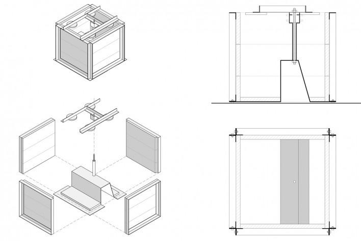 Cavaletes de vidro reconstruídos, forma. Metro Arquitetos Associados
