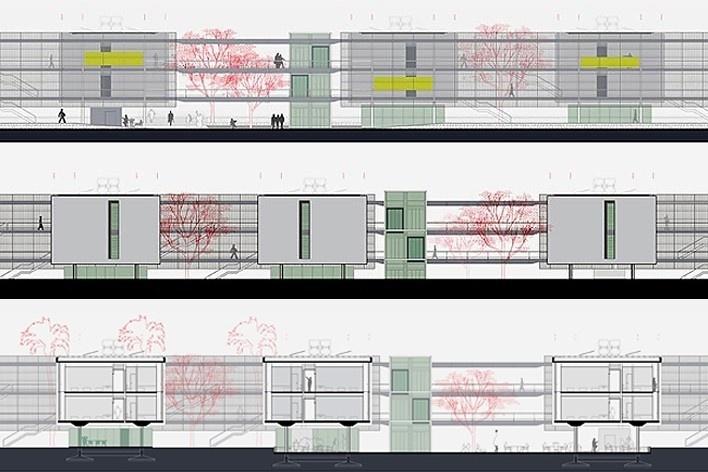 Dormitórios e alojamentos para professores e estudantes, elevações e corte AA. Sic Arquitetura, 2008<br />Desenho escritório