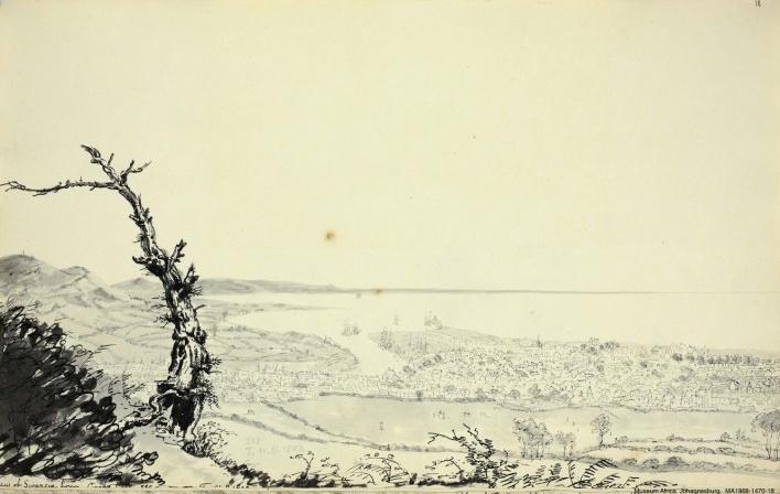 País de Gales, Vista de Swansea, 31 ago 1804<br />William John Burchell  [Collection Museum Africa, Johannesburg]