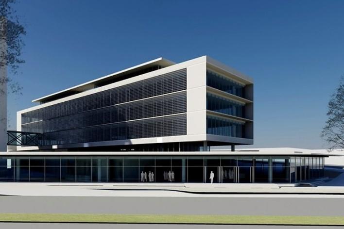Centro de Referência em Empreendedorismo do Sebrae-MG, vista geral do conjunto, menção honrosa. Arquiteto Marcos Alexandre Jobim, 2008<br />Desenho escritório