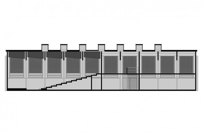 Saint Catherine's College, corte longitudinal do auditório, Oxford, Inglaterra, 1959-1964, arquiteto Arne Jacobsen<br />Modelo tridimensional de Edson Mahfuz e Ana Karina Christ