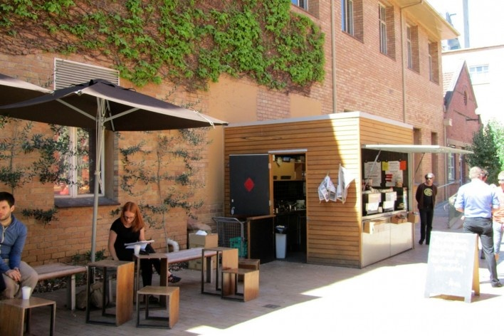 Pop up coffee shop no campus da UniMelb<br />Foto Gabriela Celani