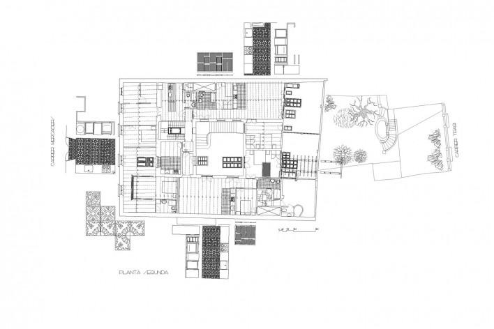 Planta segunda<br />Deseño Estudio Miralles-Tagliabue