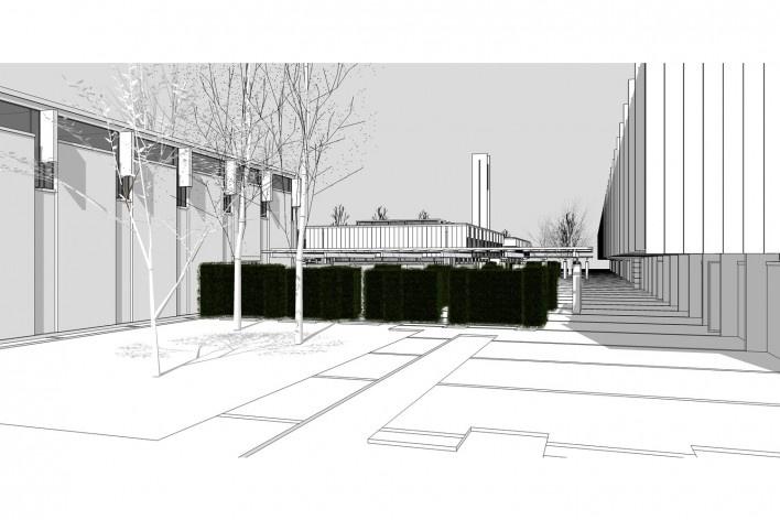Saint Catherine's College, vista de uma pérgola, com cerca viva, Oxford, Inglaterra, 1959-1964, arquiteto Arne Jacobsen<br />Modelo tridimensional de Edson Mahfuz e Ana Karina Christ