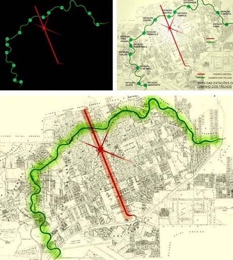 Conceito: Passeio Central e Caminho dos Trilhos<br />Imagem dos autores do projeto