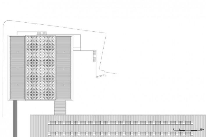 Museu Nacional dos Coches, planta de cobertura pavimento do anexo (restaurante e administração), Lisboa. Arquiteto Paulo Mendes da Rocha, MMBB arquitetos e Bak Gordon arquitetos<br />Imagem divulgação