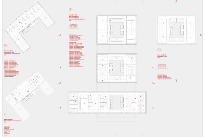 Plantas níveis 58.50 / 65.60 – Administração geral e Departamentos (design, artes e comunicação)