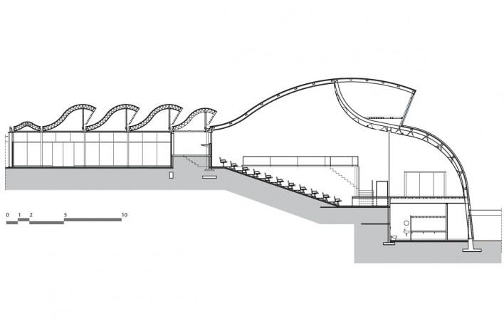 """Sarah Brasília Lago Norte, prédio centro de pesquisa, corte transversal, Brasília DF<br />Divulgação  [LIMA, João Filgueiras (Lelé). """"Arquitetura - uma experiência na área da saúde""""]"""