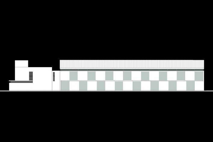 Cootrapar – cooperativa de trabajadores de aceros del Paraguay. Fachada bosque. Arq. Luis Alberto Elgue y Arq. Cynthia Solis Patri. Villa Hayes, Paraguay. 2007 – 2008.