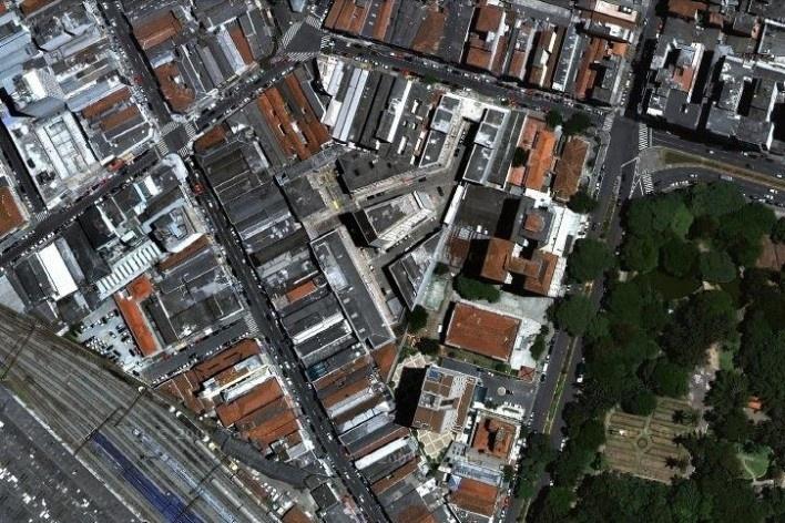 Centro Comercial do Bom Retiro, implantação, São Paulo. Arquiteto Lucjan Korngold [Google Maps]
