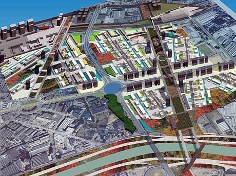 Proposta geral. Parque Tietê em primeiro plano<br />Imagem dos autores do projeto