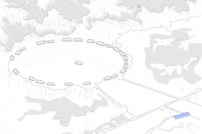 Coberturas no Xingu, perspectiva do sítio, Parque Indígena do Xingu, São Félix do Araguaia MT Brasil, 2017. Arquiteto Gustavo Utrabo (autor) / Estúdio Gustavo Utrabo<br />Imagem divulgação / disclosure image  [Estúdio Gustavo Utrabo]