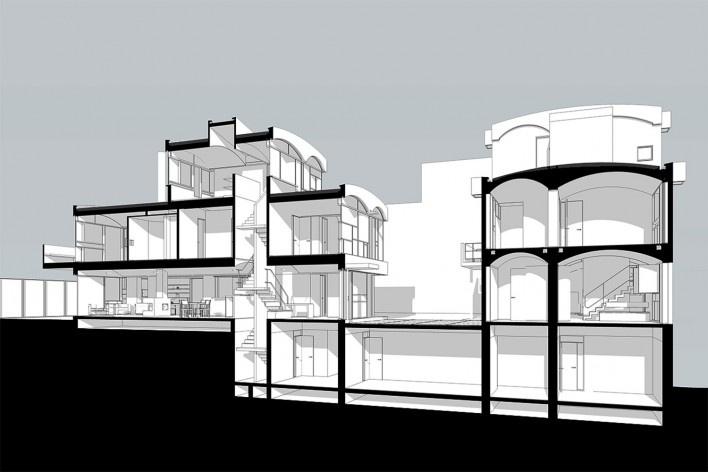 Casas Jaoul, corte, Neully-sur-Seine, Paris, França, 1951-56. Arquiteto Le Corbusier<br />Modelo tridimensional Lucas Kirchner / Imagem Edson Mahfuz
