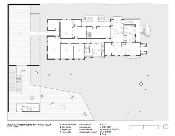Museu da Diversidade Sexual, planta térreo superior, nível 102,74. Hereñú + Ferroni Arquitetos, 2014<br />Imagem divulgação