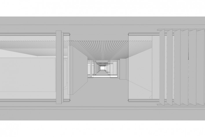 Aulário 3 (unidad de Alicante), vista interior, San Vicente del Raspeig, Alicante, España, 2000. Arquitecto Javier Garcia-Solera<br />Modelo tridimensional e imagem Edson Mahfuz