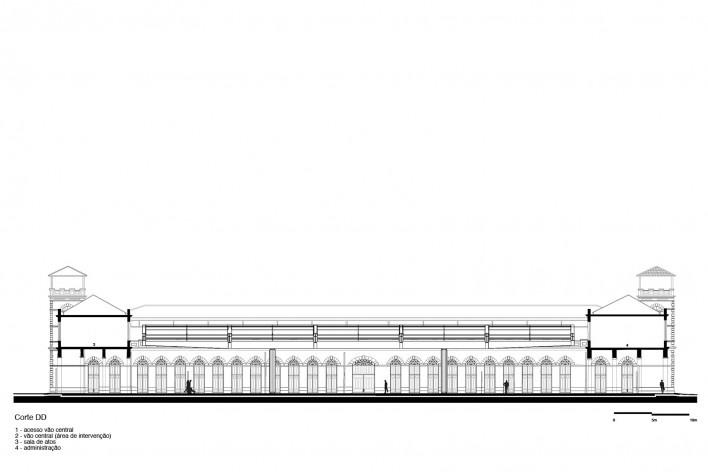 Cobertura do Mercado Público de Florianópolis, corte DD, 2016. Arquitetos Gustavo Correia Utrabo e Pedro Lass Duschenes<br />Imagem divulgação