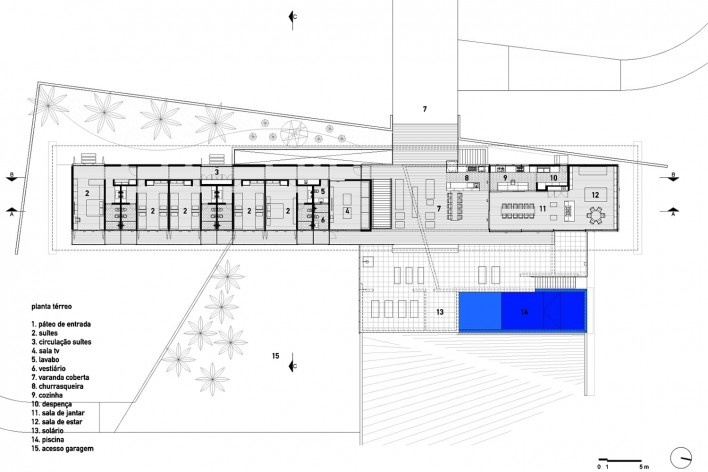 Residência Piracaia, planta térreo, Piracaia SP Brasil, 2012-2014. Arquitetos Lua Nitsche e Pedro Nitsche<br />Imagem divulgação  [Nitsche Arquitetos Associados]