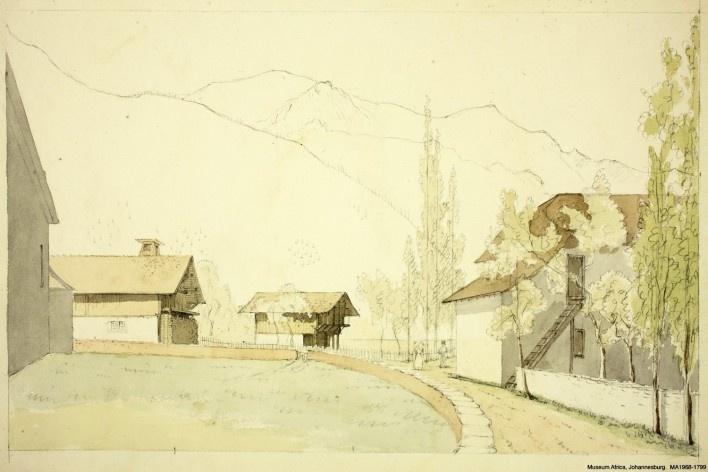França, vilarejo de Servoz, olhando em direção das montanhas alpinas próximas ao Montblanc, 15 out 1832<br />William John Burchell  [Collection Museum Africa, Johannesburg]